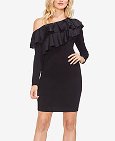 Vince Camuto Asymmetrical Ruffle-Trim Sheath Dress