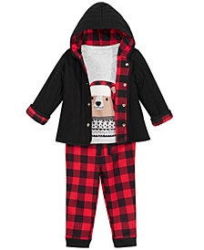 First Impressions Baby Boys Bear T-Shirt, Reversible Jacket & Buffalo-Plaid Pants Separates, Created for Macy's