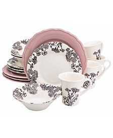 EuroCeramica Savannah 16 Piece Pink Dinnerware Set