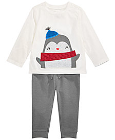 First Impressions Toddler Boys Penguin Top & Thermal Jogger Pants Separates, Created for Macy's