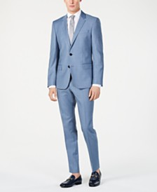 Hugo Boss Men's Modern-Fit Light Blue Mini-Check Suit Separates