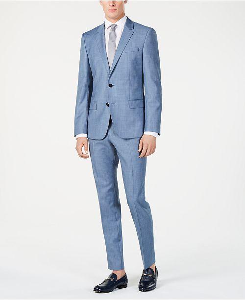 fbd6295b0ef ... Hugo Boss Men s Modern-Fit Light Blue Mini-Check Suit Separates ...