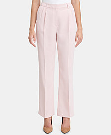 Tommy Hilfiger Pleated Crepe Wide-Leg Trouser Pants