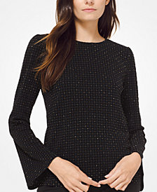 MICHAEL Michael Kors Printed Bell-Sleeve Top, in Regular and Petite Sizes