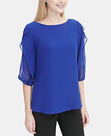 Calvin Klein Chiffon-Trim Blouson-Sleeve Top