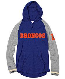 Mitchell & Ness Men's Denver Broncos Slugfest Lightweight Hooded Long Sleeve T-Shirt
