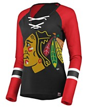bd951a4f5 Majestic Women s Chicago Blackhawks Lace Up Long Sleeve T-Shirt