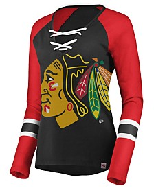 Majestic Women's Chicago Blackhawks Lace Up Long Sleeve T-Shirt