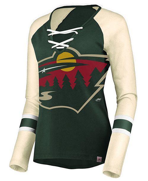 Majestic Women s Minnesota Wild Lace Up Long Sleeve T-Shirt - Sports ... 58e36cc46f