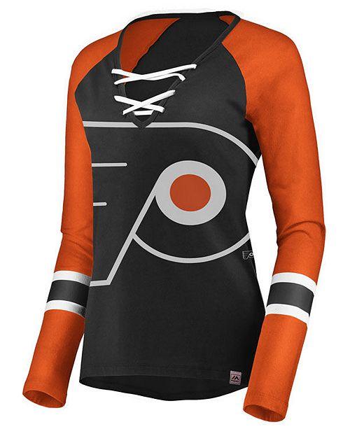 209e7b2e0a0 ... Majestic Women's Philadelphia Flyers Lace Up Long Sleeve T-Shirt ...