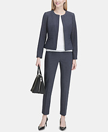 Calvin Klein Zip-Front Blazer, Lace-Stripe Top & Printed Pants