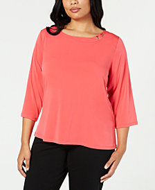 Calvin Klein Plus Size Hardware-Neck Top