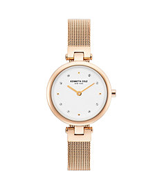 Kenneth Cole New York Ladies Rosegold Tone Mesh Bracelet Watch 28mm