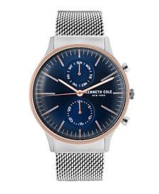 Kenneth Cole New York Men's Multifunction Silver Mesh Bracelet Watch 43mm