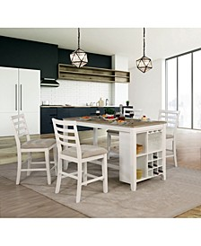 Mandelin Multi-Storage Counter Height Island Dining Table