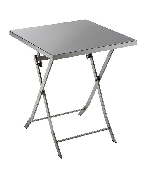 Furniture of America Mina Industrial Stainless Steel Folding Table (Set of 2)