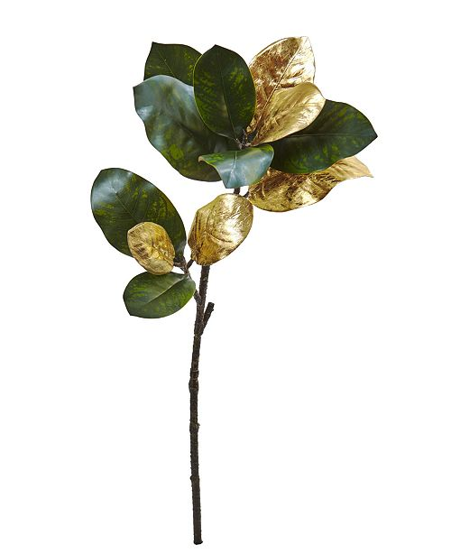 "Nearly Natural 32"" Golden Magnolia Leaf Artificial Stem, Set of 3"