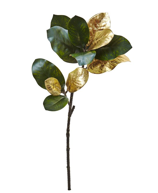 "Nearly Natural 32"" Golden Magnolia Leaf Artificial Stem, Set of 3"