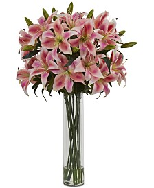 Nearly Natural Rubrum Lily Artificial Arrangement in Cylinder Vase