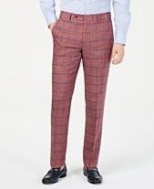 847f9d83f Tommy Hilfiger Men's Modern-Fit Brick/Blue Windowpane Linen Suit Pants