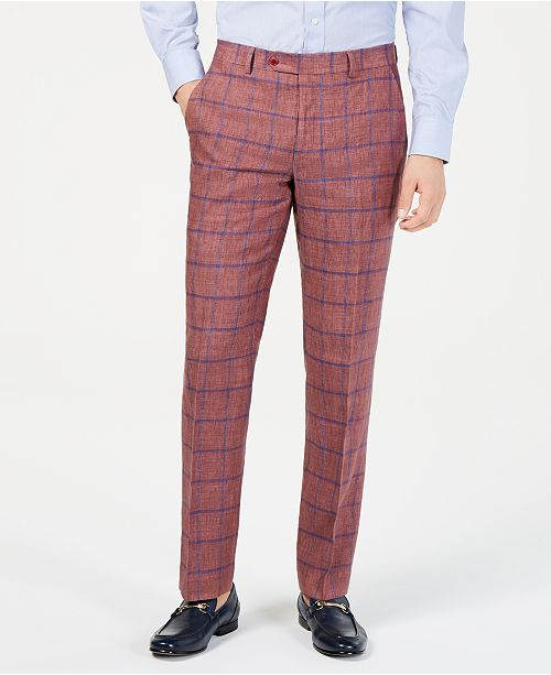 Tommy Hilfiger Men's Modern-Fit Brick/Blue Windowpane Linen Suit Pants