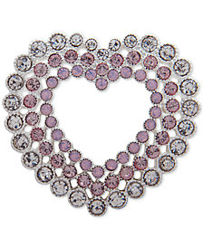 Anne Klein Silver-Tone Crystal Triple-Row Heart Pin, Created for Macy's