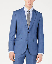 Hugo Boss Men's Modern-Fit Medium Blue Micro-Grid Suit Jacket