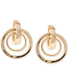 Anne Klein Gold-Tone Orbital E-Z Comfort Clip-On Drop Earrings