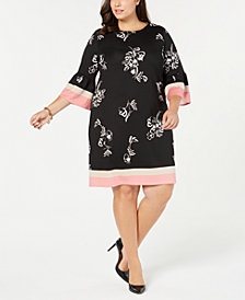 Alfani Plus Size Printed Scuba Dress, Created for Macy's