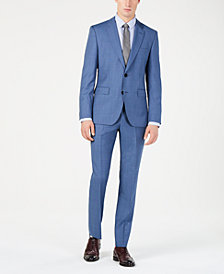Hugo Boss Men's Modern-Fit Medium Blue Micro-Grid Suit Separates