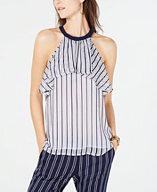 MICHAEL Michael Kors Striped Ruffled Halter Top