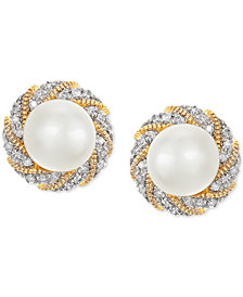 Honora Cultured Freshwater Pearl (6mm) & Diamond Accent Earrings in 14k Gold