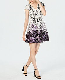 Vince Camuto Belted Floral Jacquard Fit & Flare Dress