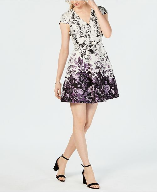 bd92737851b9 Vince Camuto Belted Floral Jacquard Fit   Flare Dress   Reviews ...