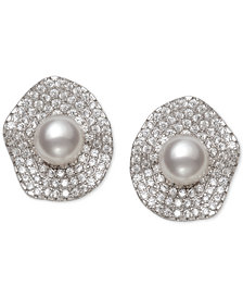 Cultured Freshwater Pearl (6mm) & Cubic Zirconia Button Stud Earrings in Sterling Silver