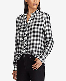 Lauren Ralph Lauren Buffalo Check Georgette Shirt
