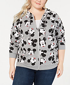 Disney Trendy Plus Size Mickey Mouse-Print Zip-Up Hoodie