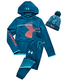Under Armour Big Boys Pom-Pom Hat, Logo-Print Hoodie & Jogger Pants