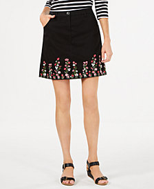 Karen Scott Floral-Embroidered Skirt, Created for Macy's