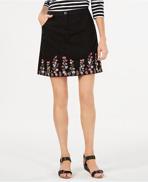 Karen Scott Floral-Embroidered Skirt, Created for Macy's