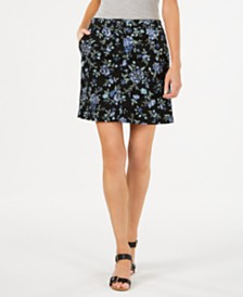 Karen Scott Petite Floral Sketch Skort, Created for Macy's