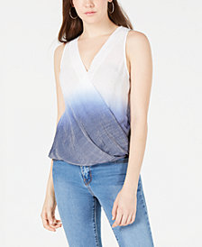 BCX Juniors' Dip-Dyed Wrap-Front Tank Top