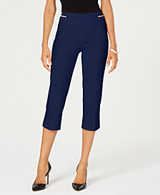 JM Collection Petite Diamonte Studded Waistband Capri Pants, Created for Macy's