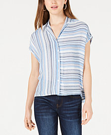BCX Juniors' Striped Button-Front Top