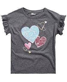Epic Threads Big Girls Reversible Sequin Heart T-Shirt, Created for Macy's
