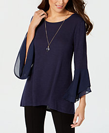 JM Collection Petite Chiffon Bell-Sleeve Top, Created for Macy's