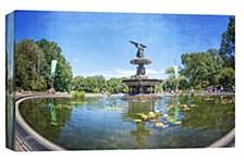 Fountain Central Park  Decorative Canvas Wall Art
