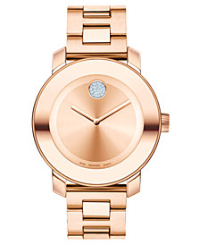 Movado Women's Swiss Bold Rose Gold Ion-Plated Stainless Steel Bracelet Watch 36mm 3600086