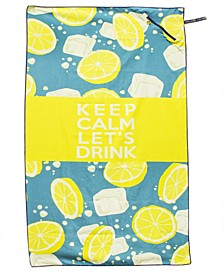 Premium Beach Towel with Zipper Pocket  Super Absorbent & Soft Lightweight Compact Eco-friendly Anti-bacterial Travel Accessory Keep Calm Let's Drink Yellow By MinxNY