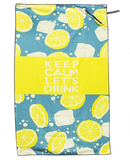 MinxNY Premium Beach Towel with Zipper Pocket  Super Absorbent & Soft Lightweight Compact Eco-friendly Anti-bacterial Travel Accessory Keep Calm Let's Drink Yellow By MinxNY